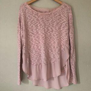 Anthropologie Deletta Mauve Pink Knit Sweater  M